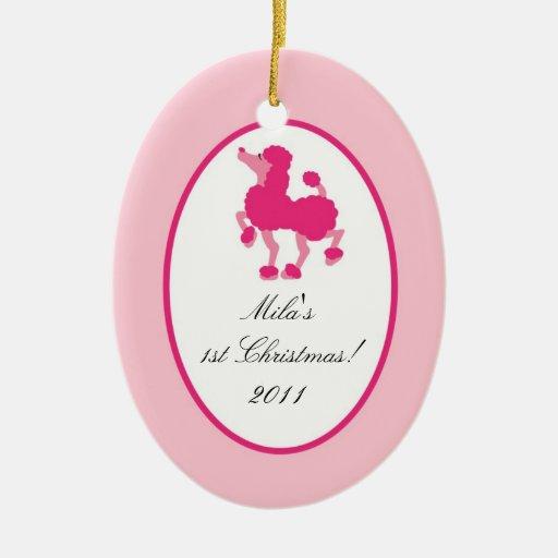 Caniche de encargo personalizado París del rosa Ornamentos De Navidad