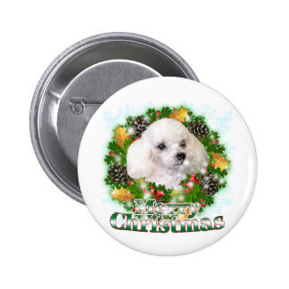 Caniche de las Felices Navidad Pin
