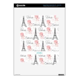 Caniche de Ohlala París y modelo lindos de la torr Pegatina Skin Para iPad 3