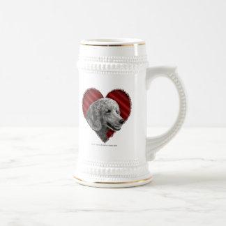 Caniche de plata con el corazón tazas de café