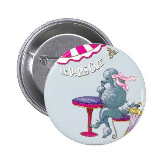 Caniche de plata en los regalos del café de París  Pin Redondo 5 Cm