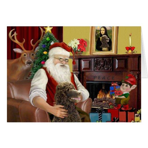 Caniche de Santa en casa - (chocolate estándar) Tarjeta De Felicitación