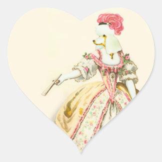 Caniche del blanco de Marie Antonieta Calcomanía Corazón Personalizadas