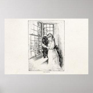 Caniche del chica del Victorian del vintage - Impresiones