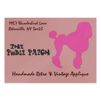 caniche del fieltro del rosa del vintage 50s tarjetas de visita grandes