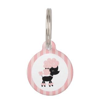 Caniche del francés del rosa y del negro identificador para mascotas