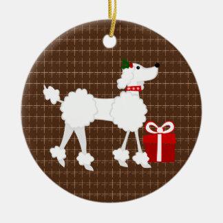 Caniche del navidad adorno redondo de cerámica