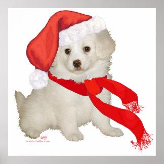 Caniche del perrito del ayudante de Santa/mezcla d Posters