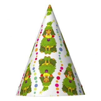 Caniche divertido del árbol de navidad gorro de fiesta