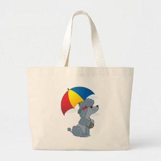 Caniche en lluvia bolsa lienzo