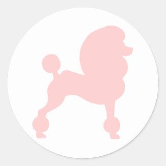 Caniche estándar acortado (en rosa claro) pegatina redonda