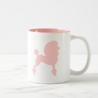 Caniche estándar acortado (en rosa claro) taza de café de dos colores