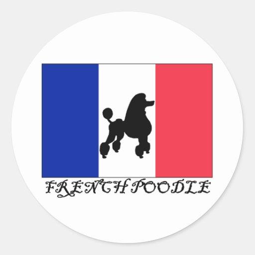 Caniche francés pegatina redonda