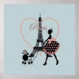 Caniche francés que camina del chica romántico lin póster