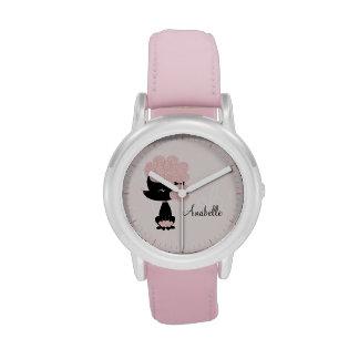 Caniche francés rosado personalizado relojes