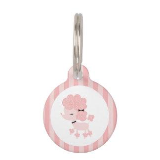 Caniche francés rosado placas para mascotas