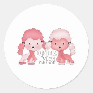 Caniche-Junto rosado podemos encontrar una Pegatina Redonda