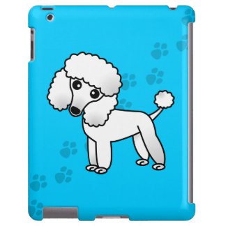 Caniche lindo de CartoonWhite en la impresión azul Funda Para iPad