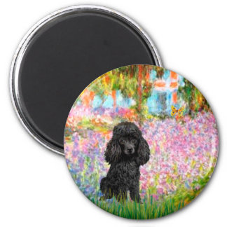 Caniche (negro 1) - jardín imán redondo 5 cm