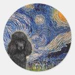 Caniche (negro 1) - noche estrellada pegatinas redondas