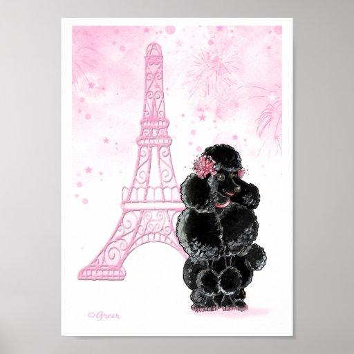 Caniche negro con la torre Eiffel rosada Póster