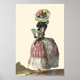 Caniche negro en la impresión del traje de Marie