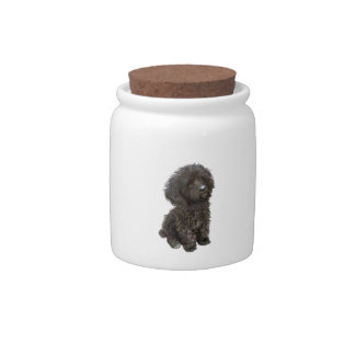 Caniche - perrito negro del juguete platos para caramelos