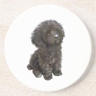 Caniche - perrito negro del juguete posavasos personalizados
