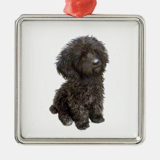 Caniche - perrito negro del juguete adorno