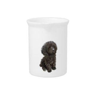 Caniche - perrito negro del juguete jarra para bebida