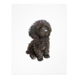 Caniche - perrito negro del juguete plantilla de membrete