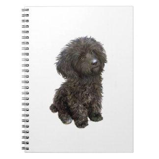 Caniche - perrito negro del juguete libretas espirales