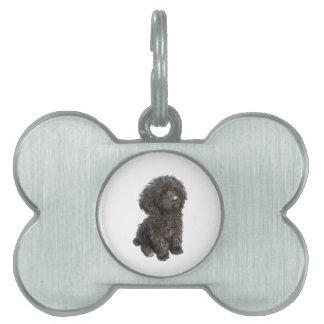 Caniche - perrito negro del juguete placas de mascota