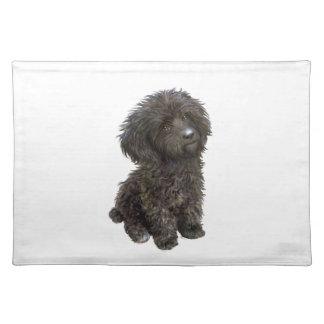 Caniche - perrito negro del juguete manteles