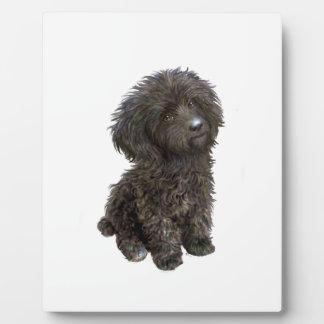 Caniche - perrito negro del juguete placas de madera