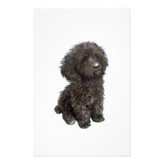 Caniche - perrito negro del juguete papeleria personalizada