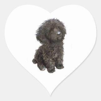 Caniche - perrito negro del juguete calcomanías corazones personalizadas