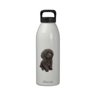 Caniche - perrito negro del juguete botella de agua reutilizable