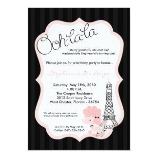 caniche rosado 5x7 en la invitación de la fiesta invitación 12,7 x 17,8 cm