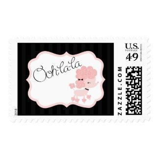 Caniche rosado de 20 sellos en París Eiffel Towe