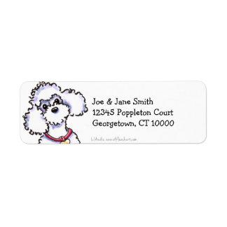Caniche rosado del cuello limpio y simple etiqueta de remitente
