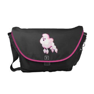Caniche rosado en bolso del ordenador portátil del bolsa de mensajeria