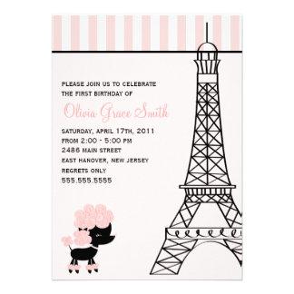 Caniche rosado en el cumpleaños de París Invitación Personalizada