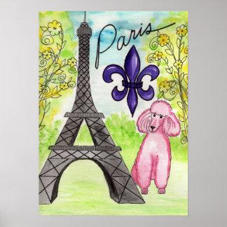 Caniche rosado en el poster de París