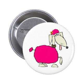 Caniche rosado pin redondo 5 cm