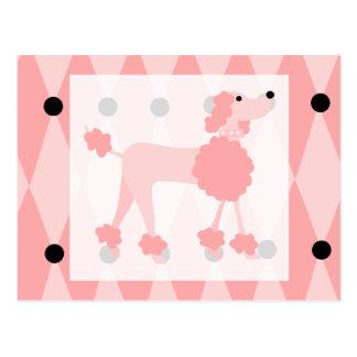 Caniche rosado postal