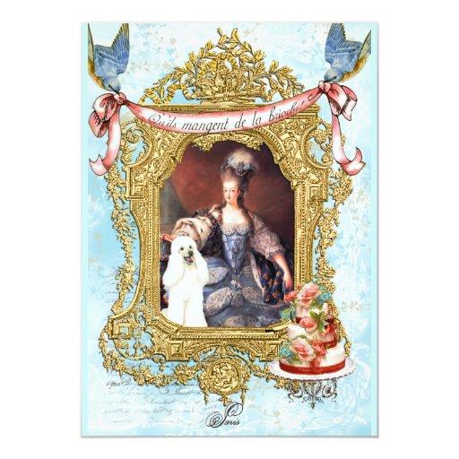Caniche y invitación blancos de Marie Antonieta
