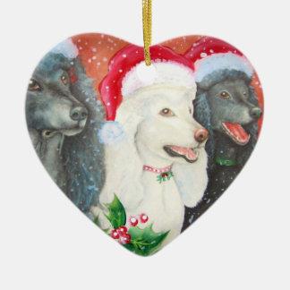 Caniches con el ornamento de los gorras de Santa Adorno Navideño De Cerámica En Forma De Corazón