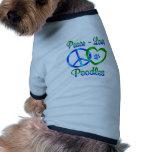 Caniches del amor de la paz ropa de perro
