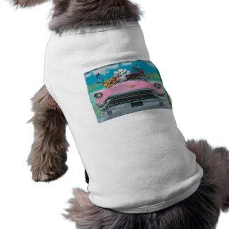 Caniches en camiseta retra rosada del perrito de l camisas de perritos